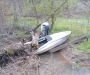 Getting the boat out of the creek